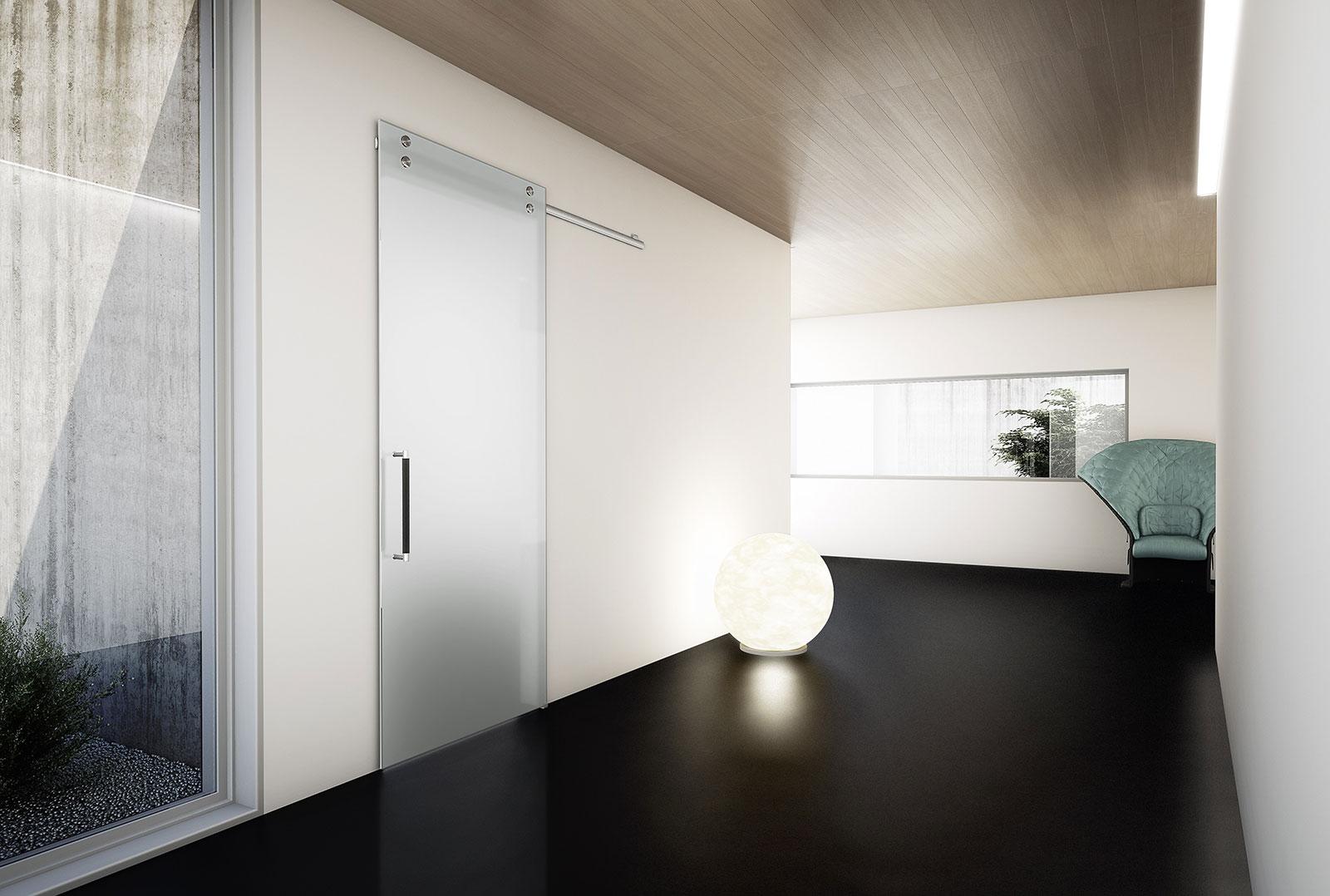Porta Scorrevole Su Muro Portante absolute - porta con scorrimento a vista | henry glass