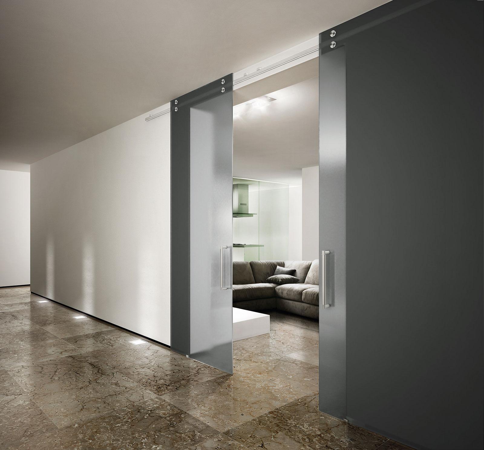 Absolute porta con scorrimento a vista henry glass - Porte a scorrimento esterno ...