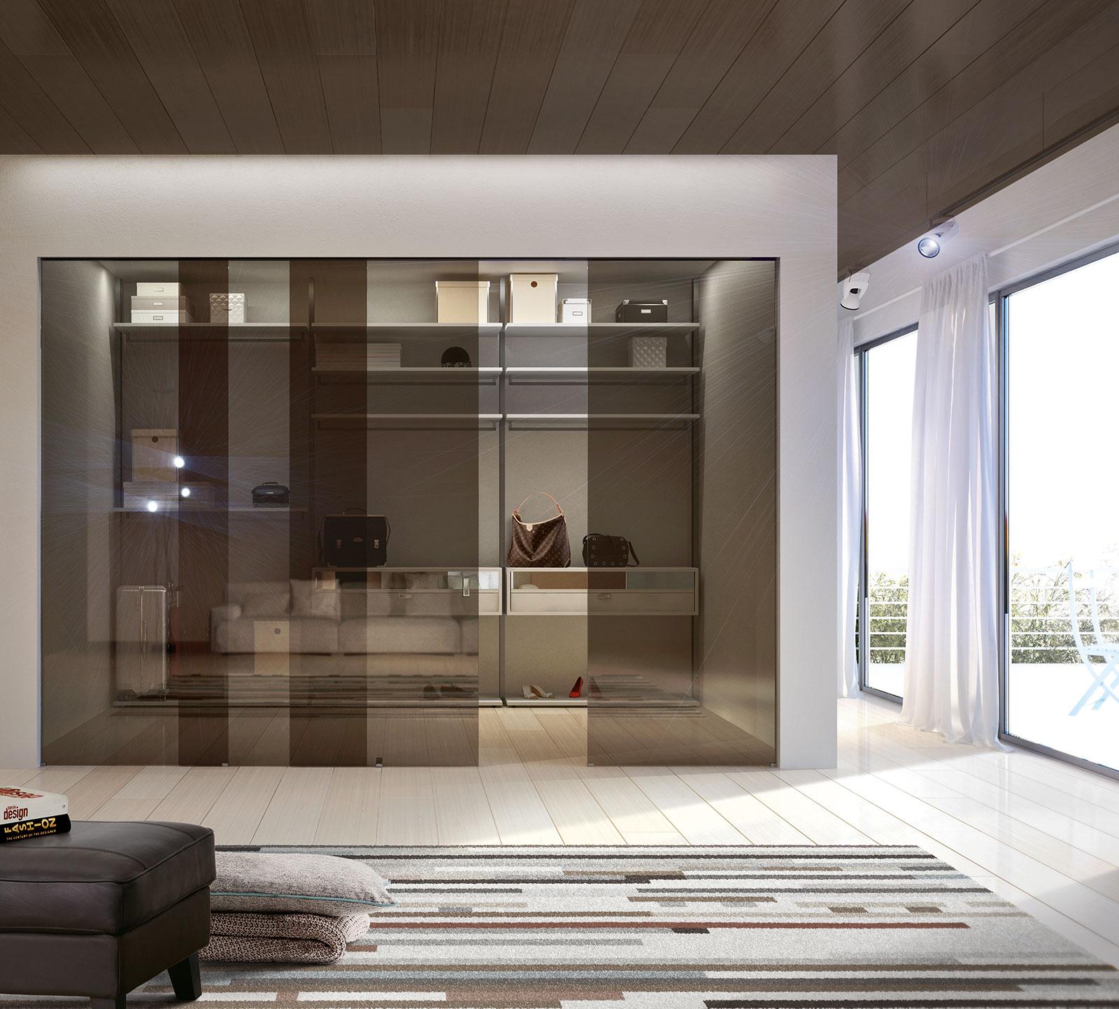 Cabina armadio su misura porte sistemi henry glass for Cabina armadio