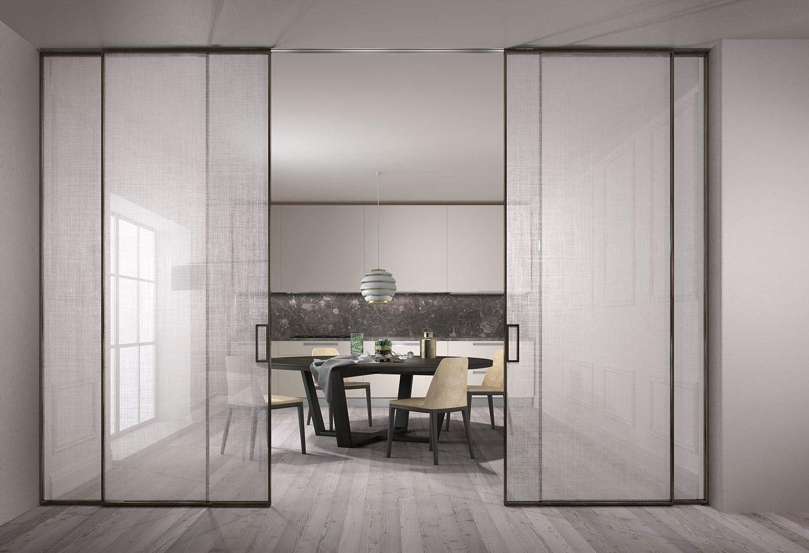 Fabulous vetro trasparente extralight decoro trame profili - Porta scorrevole esterno muro prezzo ...